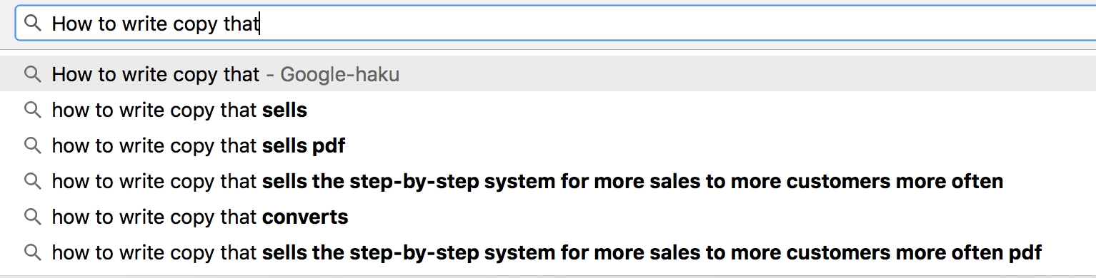 How to write copy that sells google search bar